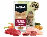 BLACK HAWK GRAIN FREE CHICKEN WITH BEEF AND LAMB WET CAT FOOD POUCH 85G