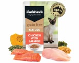 BLACK HAWK GRAIN FREE MATURE CHICKEN WITH SALMON WET CAT FOOD POUCHES 85G