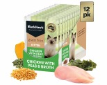 BLACK HAWK GRAIN FREE KITTEN CHICKEN WITH PEAS AND BROTH CAT FOOD POUCHES 12X85G