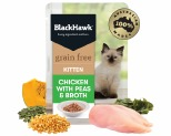 BLACK HAWK GRAIN FREE KITTEN CHICKEN WITH PEAS AND BROTH CAT FOOD POUCHES 85G
