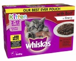 WHISKAS POUCH FAVOURITES KITTEN BEEF SELECTION 85GX12 PACK