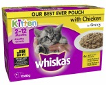WHISKAS POUCH FAVOURITES KITTEN CHICKEN SELECTION 85GX12 PACK