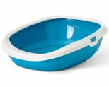 SAVIC GIZMO CAT LITTER TRAY 42CM WHITE LIGHT BLUE