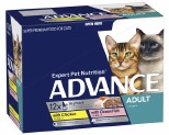 ADVANCE CAT 1+ YEARS ADULT MULTI PACK TENDER CHUNKS IN JELLY 85GX12