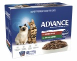 ADVANCE CAT 1+ YEARS ADULT MULTI PACK TENDER CHUNKS IN GRAVY 85GX12**