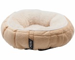 PET ONE SMALL ANIMAL ULTRA PLUSH QUILTED ROUND BED 20CM LATTE**