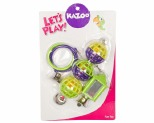 KAZOO BIRD MIRROR/BALL/RING SET GREEN/PURPLE