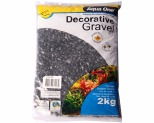 AQUA ONE DECORATIVE GRAVEL BLACK 2KG 7MM