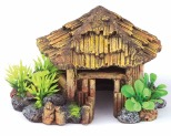KAZOO BALI HUT WITH PLANTS - ROUND - MEDIUM