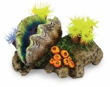 KAZOO CLOSED CLAM W/SOFT CORAL & PLANTS -SMALL