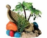 AQUA ONE HERMIT CRAB SHIP WRECK W/PALM TREE 11.X9.5X9.5CM