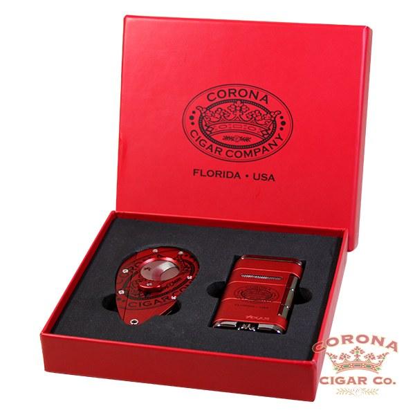 Image of Xikar Corona Cigar Co. Cutter & Lighter Gift Set - Red