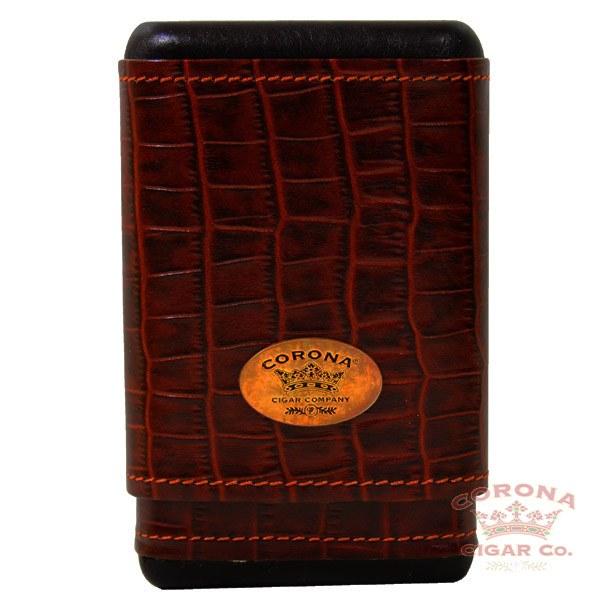 Image of Corona Leather Crocodile Cigar Case 3-4 Finger