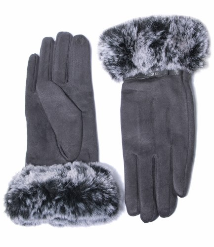 Envy Jewellery Faux Fur Trim Gloves