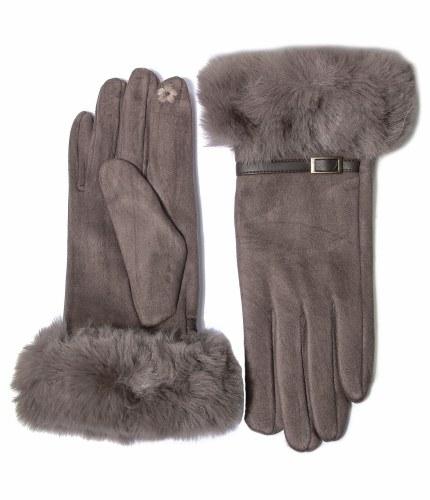 Envy Jewellery Faux Fur Detail Gloves
