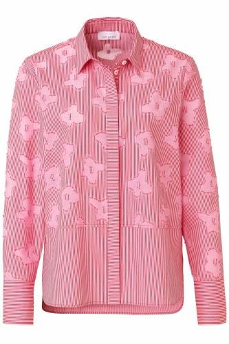 Just White Stripe Flower Shirt