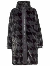 Creenstone Mina Dogtooth Faux Fur Coat (3360)