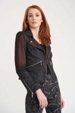 Joseph Ribkoff Knit Sleeve Biker Jacket