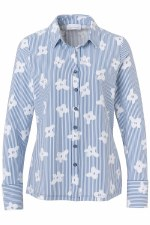 Just White Stripe Flower Shirt