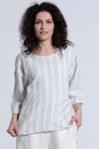 Vetono Linen Stripe Top