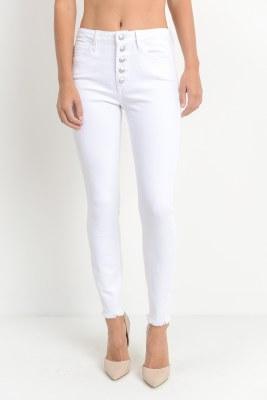 Button Down Skinny White Jean