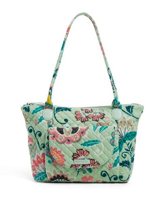 Carson East West Tote Mint Flowers