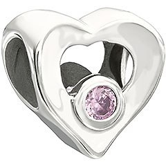 Heart Bead with Pink Stone