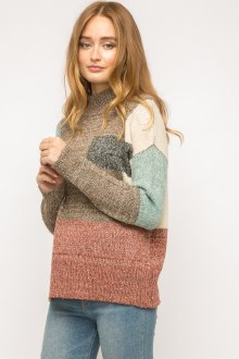 High Necked Color Block Sweater