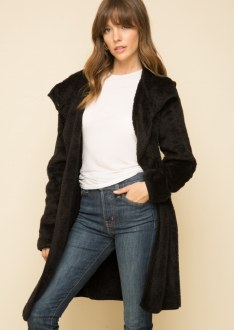 Black Fur Hooded Coat