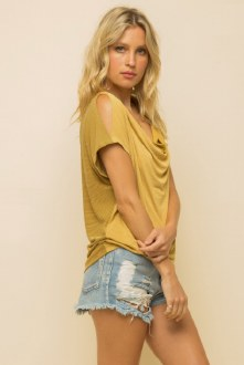 Draped Neck Cut Out Shoulder Small