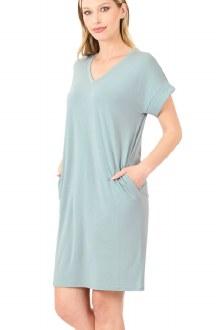 Rolled Short Sleeve V-Neck Dress Light Green