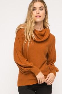 Cowl Neck Balloon Cozy Sweater