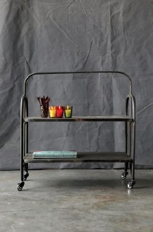 2 Tier Metal Rolling Serving Cart
