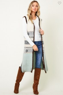 Aztec Sweater Vest Small