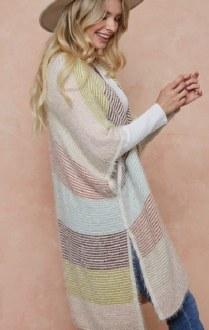 Multi-Stripe Open Cardigan L/XL