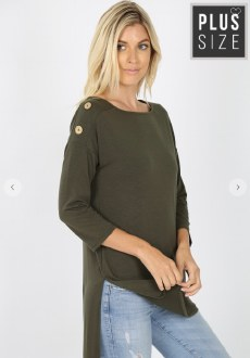 3 Wood Buttons Detail Top Dark Olive 3XL