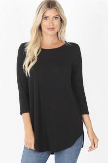3/4 Sleeve Round Neck Top: Black