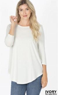 3/4 Sleeve Round Neck Top: Ivory