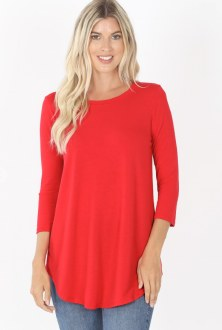 3/4 Sleeve Round Neck Top: Ruby