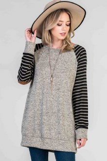 Baseball Top with Suede Elbow Patches