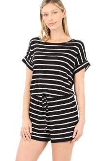 Stripe Romper with Pockets Black