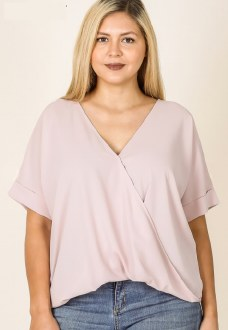 Layered Look Draped Front Top Dusty Blush