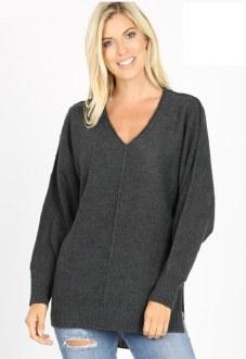 Ribbed Trim V-Neck Sweater