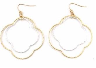 "2Tone Layered 2"" Quatrefoil Earrings"
