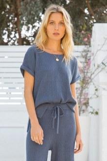 Blue Short Sleeve Sweater Top