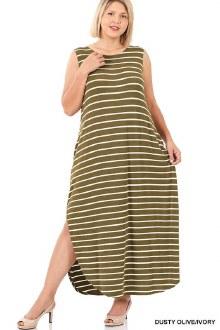 Stirped Maxi Dress: Olive