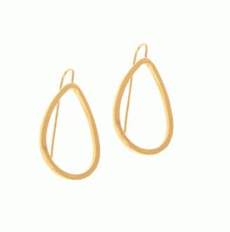 Gold Teardrop Threader Hoop
