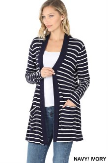 Striped Cardigan 1X Navy/Ivory