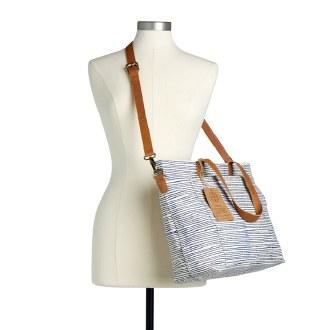 Navy Pinstripe Tote Bag