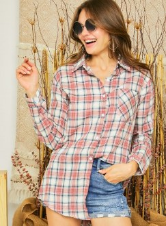 Red Plaid Button Down Flannel